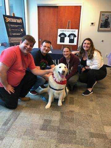 Hudson giving some stress relief to students at Touro Law School